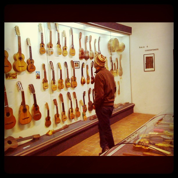 Sam in guitar heaven at the Museo de Instrumentos Musicales, La Paz